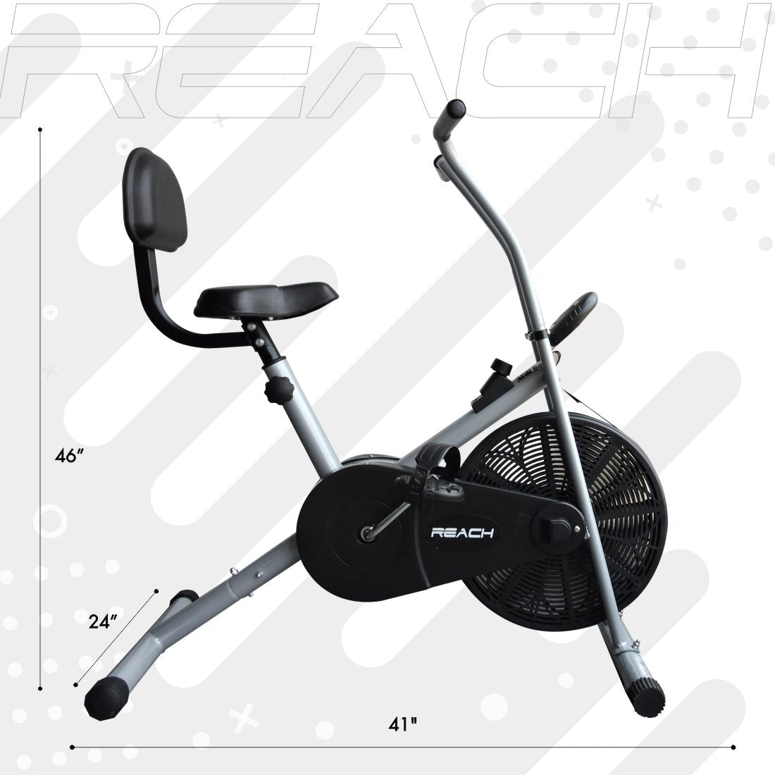 Dimensions of a silver Reach Air Bike (stationary handles) with back support attached