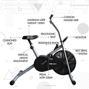 Detailed labelled diagram of the parts of a silver Reach Air Bike (stationary handles).