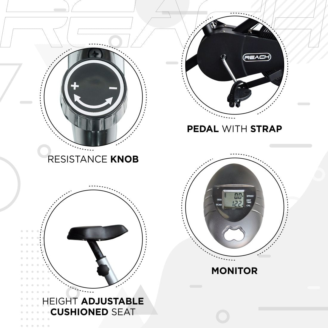 Basic features of a silver Reach Air Bike (stationary handles) like resistance, pedal, LCD monitor and adjustable seat.