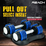 Load image into Gallery viewer, Reach Carbon Adjustable Dumbbell (Blue)
