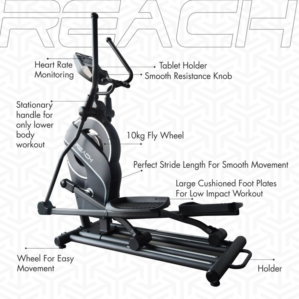 Detailed labelled diagram of the functions in a Reach CF-200 Elliptical Machine.