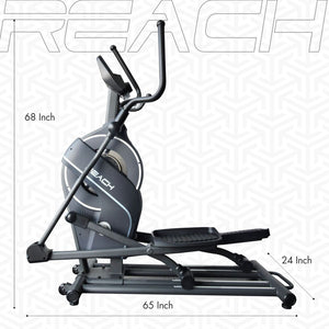 Dimensions of a Reach CF-200 Elliptical Crosstrainer Machine.