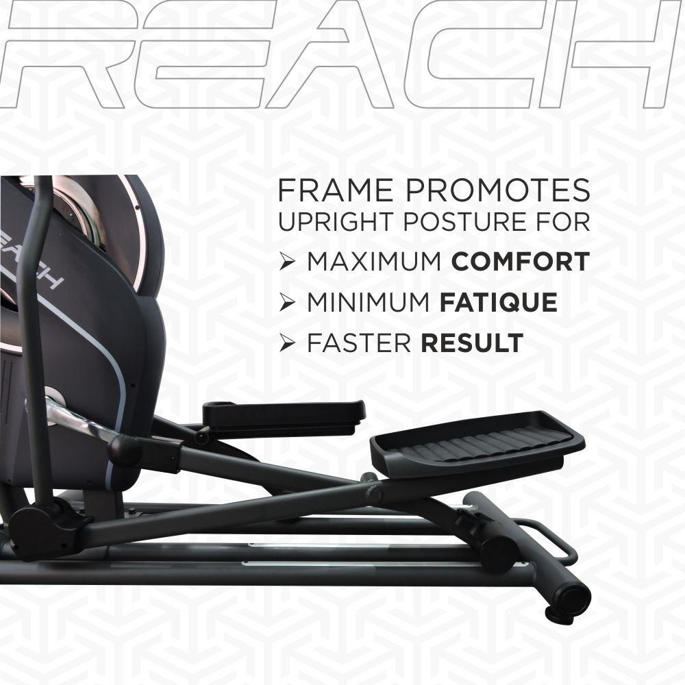 Frame enables maximum comfort, minimum fatigue and faster results from your workout.