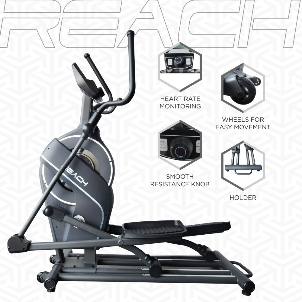 Features of a Reach CF-200 Elliptical Machine like heart rate, wheels for portability, resistance, holder.