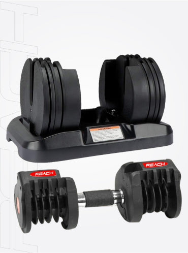 Reach Octane Adjustable Dumbbell. Dumbbell frame (all plates removed) and platform with weights shown seperately.