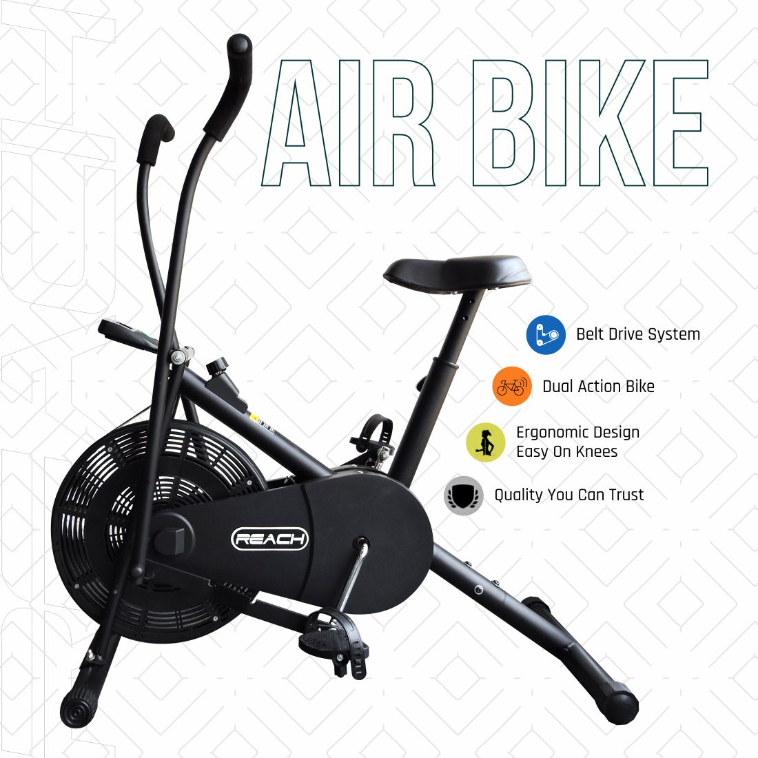 A black Reach Air Bike (moving handles) on a white background