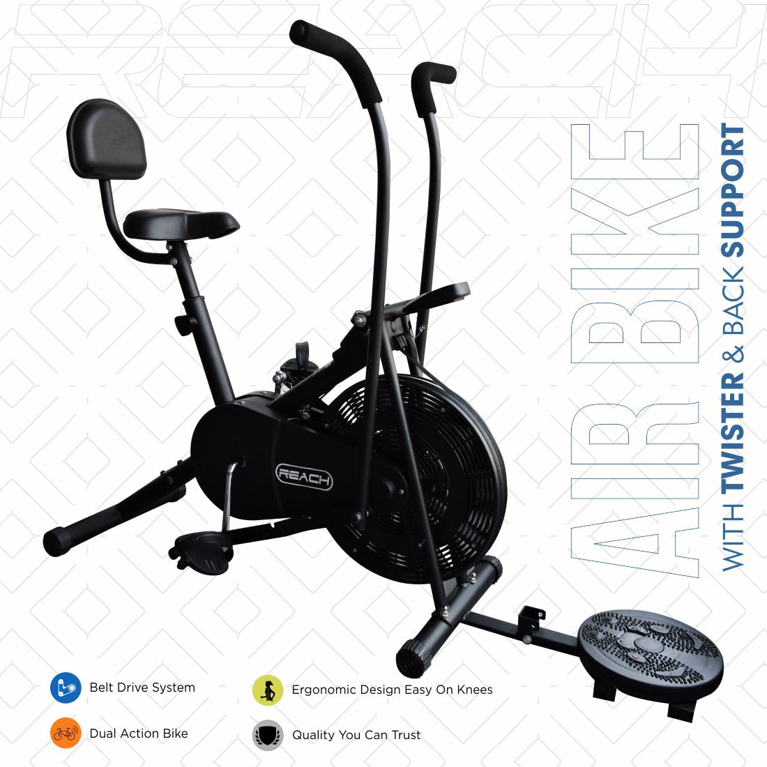 A black Reach Air Bike (moving handles) on a white background with a twister and back support attached.