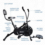 Load image into Gallery viewer, Detailed labelled diagram of parts of a black Reach Air Bike (moving handles) with back support and twister attached.
