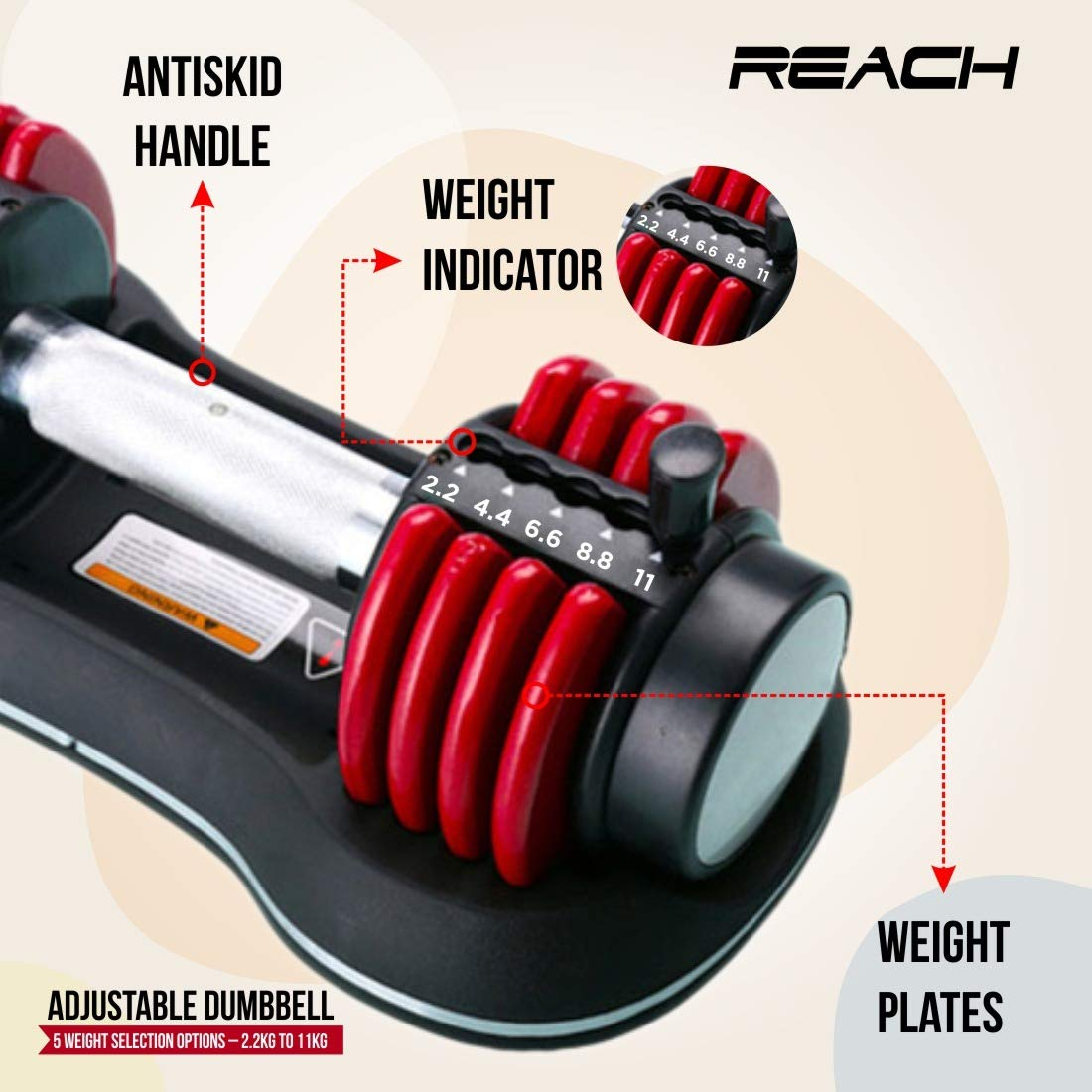 Reach Carbon Adjustable Dumbbell (Red)