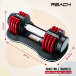 Load image into Gallery viewer, Reach Carbon Adjustable Dumbbell (Red)