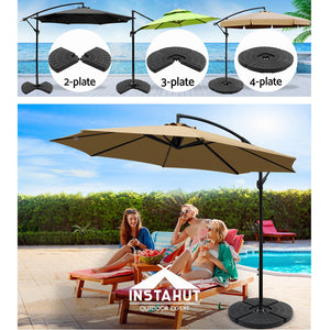 Instahut Outdoor Umbrella Stand 4 x Base Pod Plate Sand/Water Patio Cantilever Fanshaped - My Bonza Deals