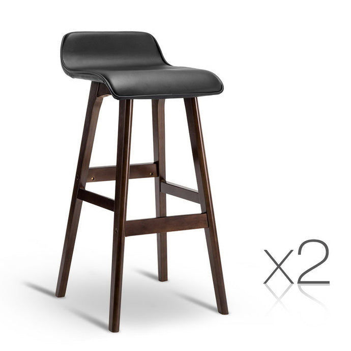 Artiss Set of 2 PU Leather and Wood Bar Stool - Black - My Bonza Deals