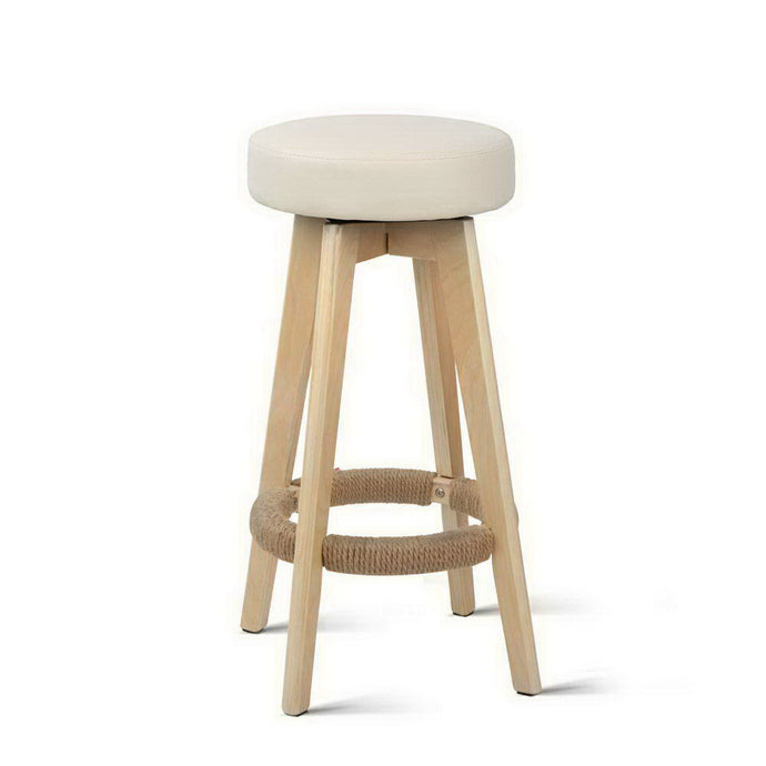 Artiss 2x Kitchen Bar Stools Wooden Bar Stool Swivel Barstools Counter Chairs 74cm Leather  Cream - My Bonza Deals