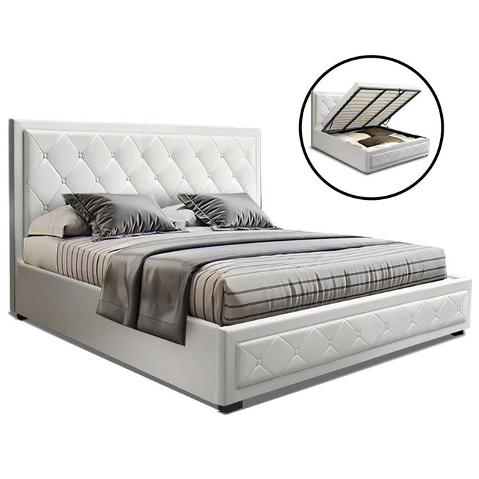 Artiss TIYO King Size Gas Lift Bed Frame Base With Storage Mattress White Leather - My Bonza Deals