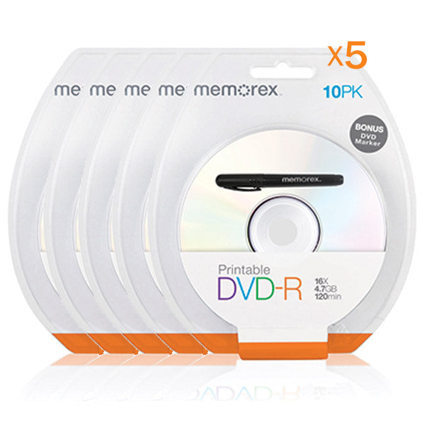 MEMOREX (5 Pack) Printable White Top DVD-R 4.7G 16x 10PCs/Pack with Bonus Mark Pen - My Bonza Deals