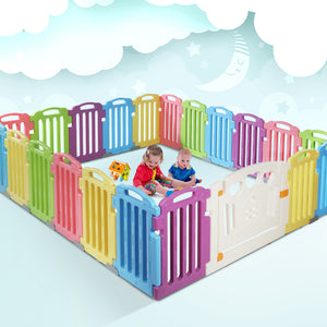 Cuddly Baby 21-Panel Plastic Baby Playpen Interactive Kids Toddler - My Bonza Deals
