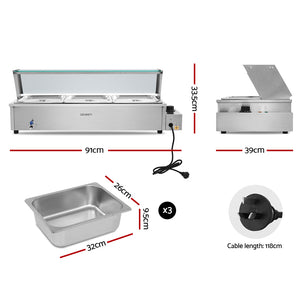Devanti Commercial Food Warmer Bain Marie Electric Buffet Pan Stainless Steel - My Bonza Deals