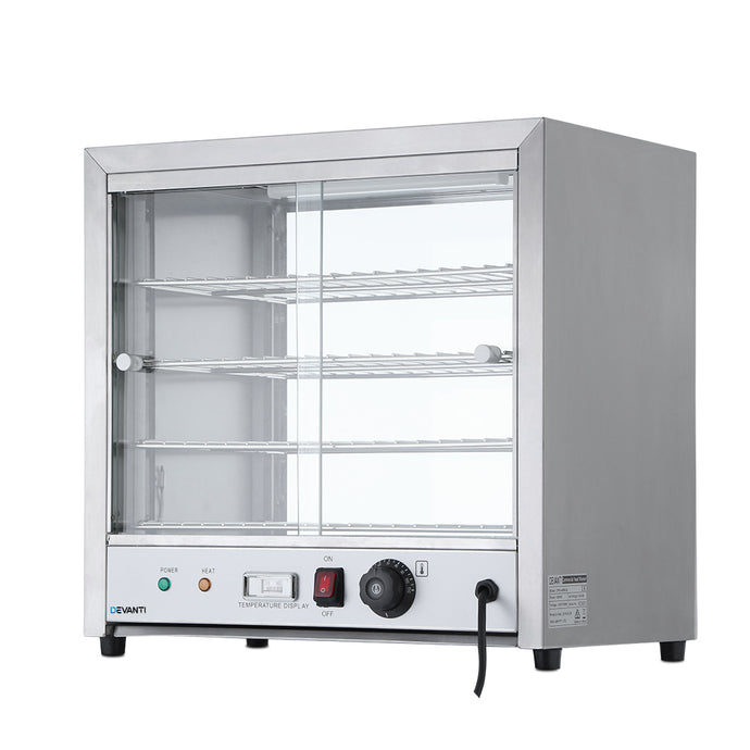 Devanti Commercial Food Warmer Pie Hot Display Showcase Cabinet Stainless Steel - My Bonza Deals