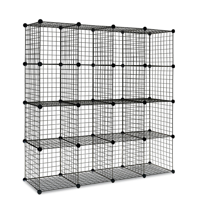 16 Cube Metal Wire Storage Cabinet - Black - My Bonza Deals