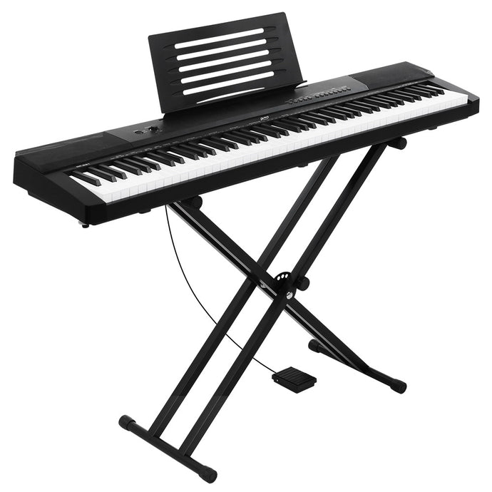Alpha 88 Keys Electronic Piano Keyboard Electric Holder Music Stand Touch Sensitive with Sustain pedal - My Bonza Deals