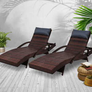 Gardeon Sun Lounge Setting Brown Wicker Day Bed Outdoor Furniture Garden Patio - My Bonza Deals