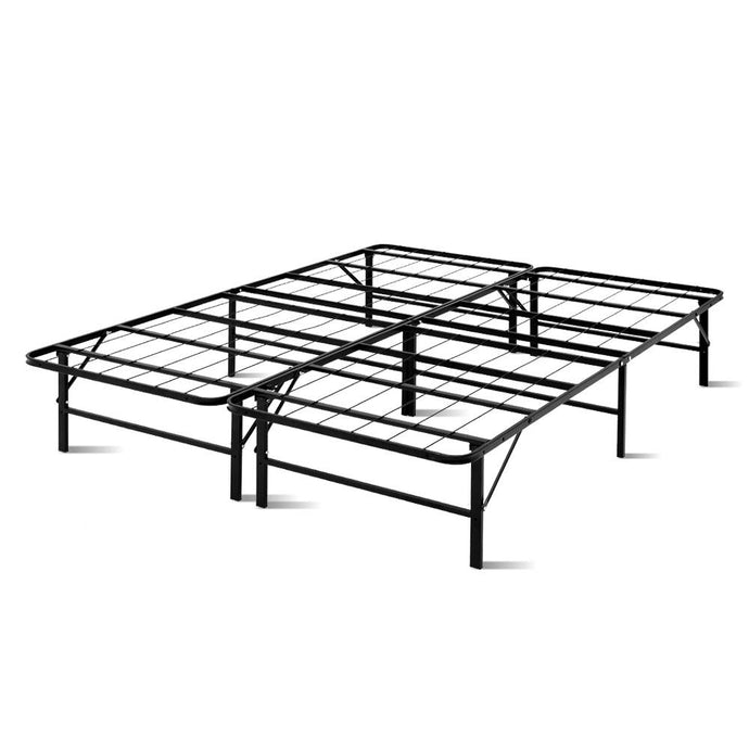 Artiss Foldable Queen Metal Bed Frame - Black - My Bonza Deals