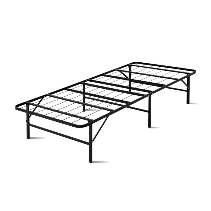 Artiss Foldable Single Metal Bed Frame - Black - My Bonza Deals