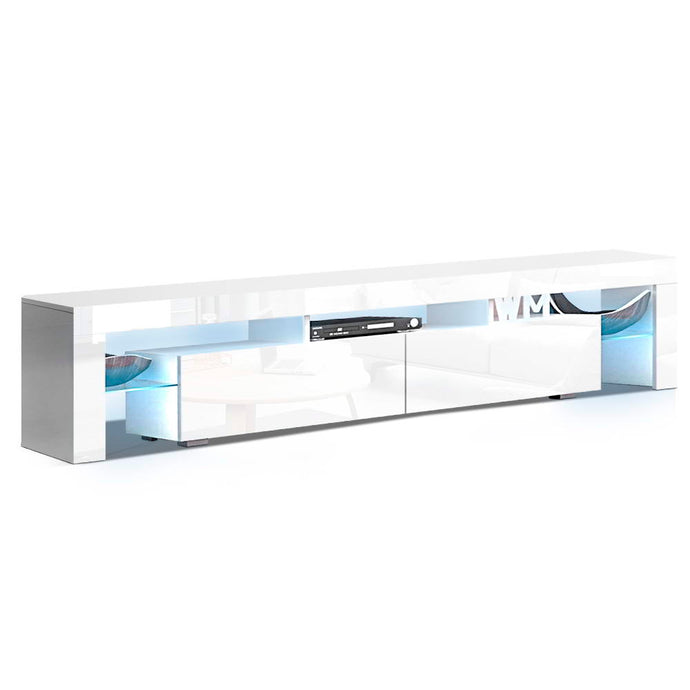 Artiss TV Cabinet Entertainment Unit Stand RGB LED Gloss Furniture 2 Drawers 200cm White - My Bonza Deals