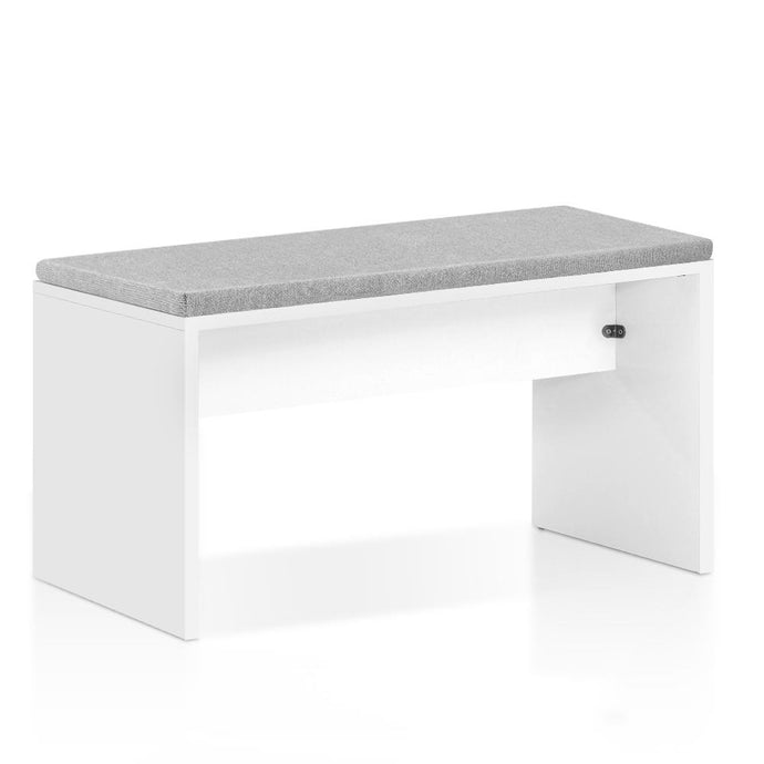 Artiss Dining Bench Upholstery Seat Stool Chair Cushion Furniture White 90cm - My Bonza Deals