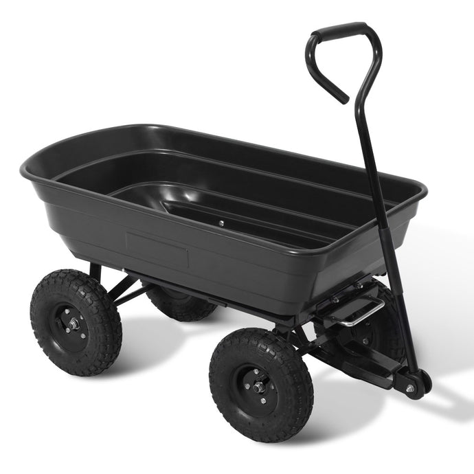 Gardeon 75L Garden Dump Cart - Black - My Bonza Deals