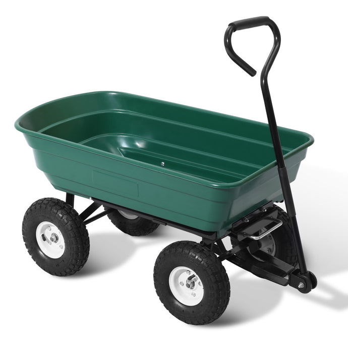 Gardeon 75L Garden Dump Cart - Green - My Bonza Deals