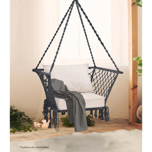 Gardeon Camping Hammock Chair Patio Swing Hammocks Portable Cotton Rope Grey - My Bonza Deals