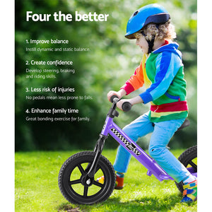 Kids Balance Bike Ride On Toys Puch Bicycle Wheels Toddler Baby 12 Bikes Purple - My Bonza Deals