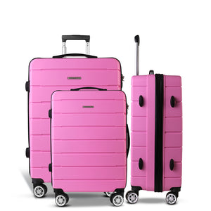 Wanderlite 3PC Luggage Suitcase Trolley - Pink - My Bonza Deals