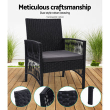 Load image into Gallery viewer, Outdoor Furniture Dining Chairs Rattan Garden Patio Cushion Black x2 Gardeon - My Bonza Deals