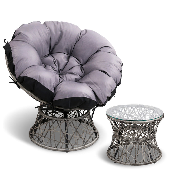 Gardeon Papasan Chair and Side Table - Grey - My Bonza Deals