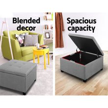 Load image into Gallery viewer, Artiss Storage Ottoman Blanket Box Linen Foot Stool Chest Couch Bench Toy Grey