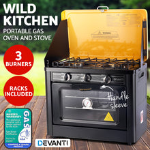 Load image into Gallery viewer, Devanti 3 Burner Portable Oven - Black & Yellow - My Bonza Deals