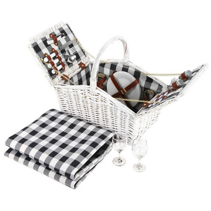 Alfresco 2 Person Picnic Basket Baskets White Deluxe Outdoor Corporate Blanket Park - My Bonza Deals