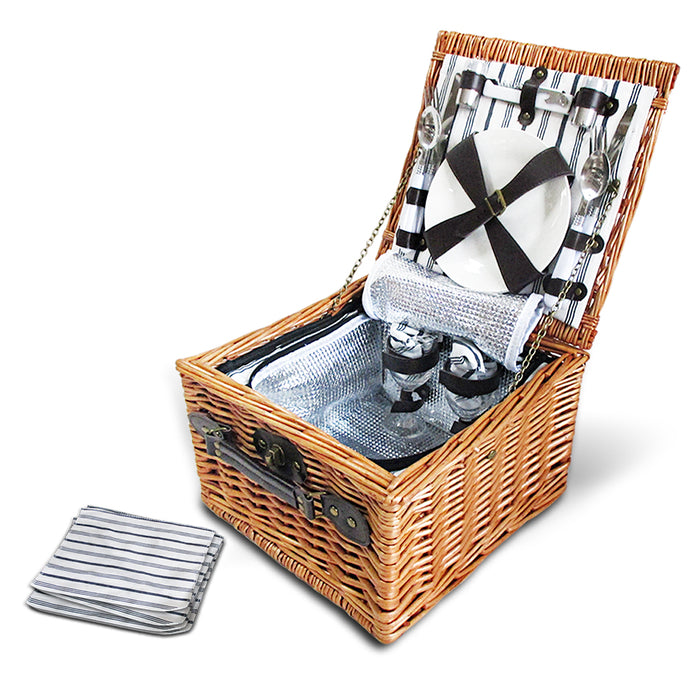 Alfresco 2 Person Picnic Basket Baskets Deluxe Outdoor Corporate Blanket Park - My Bonza Deals
