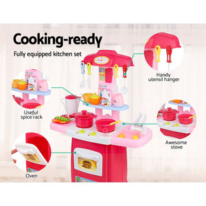 Keezi Kids Kitchen and Trolley Playset - Red - My Bonza Deals