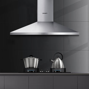 Devanti Range Hood 90cm 900mm Kitchen Canopy Stainless Steel Rangehood Wall Mount - My Bonza Deals