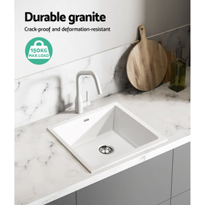 Cefito Kitchen Sink Granite Stone Laundry Top or Undermount Double White 450x450mm