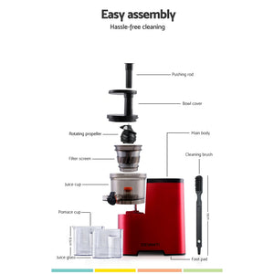 Devanti Cold Press Slow Juicer Red - My Bonza Deals