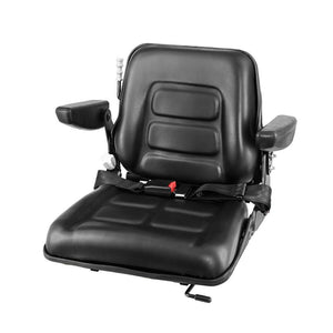 Giantz Tractor Seat with Armrest Forklift Excavator Bulldozer Universal Suspension Backrest Truck Chair black - My Bonza Deals