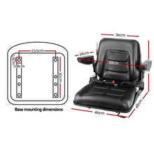 Load image into Gallery viewer, Giantz Tractor Seat with Armrest Forklift Excavator Bulldozer Universal Suspension Backrest Truck Chair black - My Bonza Deals