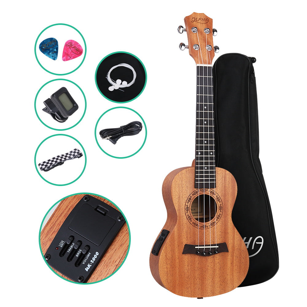 ALPHA 26 Inch Tenor Ukulele Electric Mahogany Ukeleles Uke Hawaii Guitar with EQ - My Bonza Deals