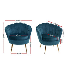 Load image into Gallery viewer, Artiss Armchair Lounge Chair Accent Retro Armchairs Lounge Shell Velvet Navy