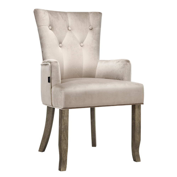 Artiss Dining Chairs French Provincial Chair Velvet Fabric Timber Retro Camel - My Bonza Deals