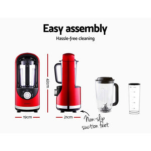 Devanti Vacuum Blender Commercial Juicer Mixer Food Processor Ice Crush Red - My Bonza Deals